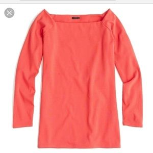 Long Sleeve Off the Shoulder T-shirt in Poppy Red